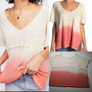 FREE PEOPLE WE THE OMBRE VNECK OVERSIZED TOP M EUC